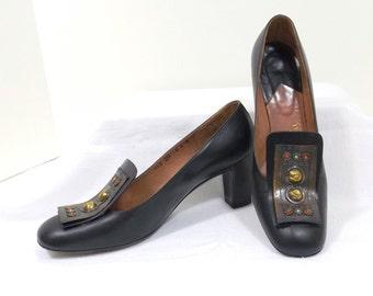 SABRA Bejeweled Black Leather Pumps Size 6M