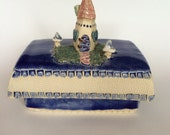 Lidded Fairy House Box in Blue
