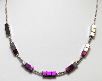 Electric Purple And Silver Hematite Stone Square Bead Necklace