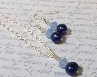 Blue Freshwater Pearl With Swarovski Air Blue Opal Crystal Necklace and Earring Set