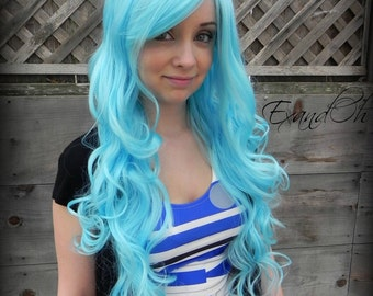 Pastel Blue Wig, Emo Scene wig, Curly Cosplay Hair, Cotton Candy, Dress Up Costume, Aqua, Teal, Light