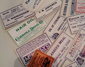 Lot of 15 Authentic Apothecary Labels