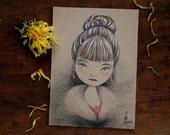 Original ACEO, Artist Trading Card, Pencil Drawing, Fine Art by Barbara Szepesi Szucs