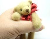 Artist Bear Miniature Teddy Jointed Collectable OOAK Needle Felted Handmade UK Merino Wool Roving Reverse Felted