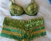 Green/gold belly-dancing/burlesque bra