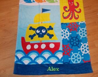 Pirate Personalized Beach Towel, Pirate Birthday, Pirate Gift, Pirate Boy, Pirate Personalized Towel, Pirate Monogrammed Towel, Nautical