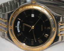 Vintage Mens Pulsar V544 Day Date Two Tone Watch