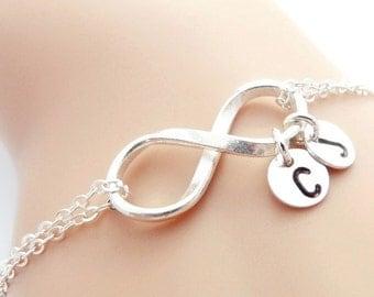 Personalized Infinity Bracelet, Infinity Bracelet with Custom Initials, Initial Bracelet, Sterling Silver, Mothers Bracelet, Mom Bracelet