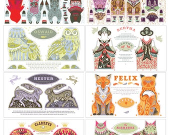 Any 8 Tea Towel / Cloth Kit Designs for the price of less than 6 - Silkscreen designs by Sarah Young