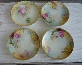 Set of 4 Vintage Porcelain Handpainted Dessert Plates, Floral Shabby Chic Decor, Vintage Wedding
