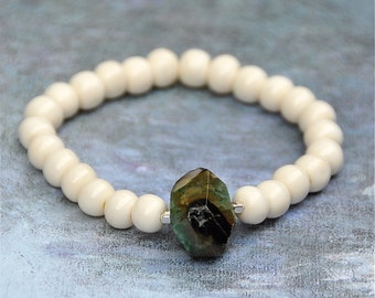 Gemstone Bone Beaded Bracelets by BeadRustic FREE SHIPPING