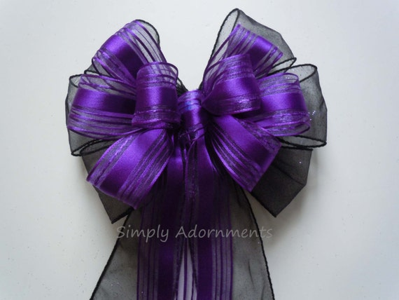 Purple Black Wedding Party Decor Black Purple Wedding Pew Bow Black Purple Wedding Aisle Decor Halloween Wedding Bow Halloween Wreath Bow