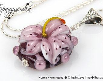 Pendant lilac Lily - Lampwork flower glass artisan bead - chain