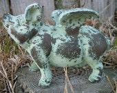 Large Cast Iron Green Shabby Flying Pig