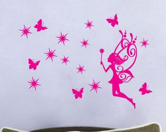 StickTak Stickers Fab Fairy with Stars Butterfly / Children Nursery Vinyl Wall Sticker Room Decal ST1108