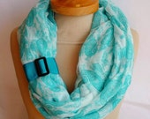 Paisley Infinity Scarf, Teal Color, Teal Long Scarf, Spring Scarf, loop scarf, very soft scarf, paisley pattern,,