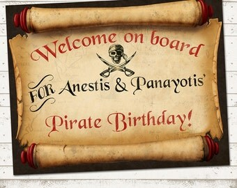 Ahoy There Mateys - Pirate Birthday Welcome Sign - Rustic, Vintage Design - Skulls and Swords -  Customized to your Party needs