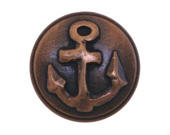 3 Anchor 7/8 inch ( 23 mm ) Metal Buttons Brass Color