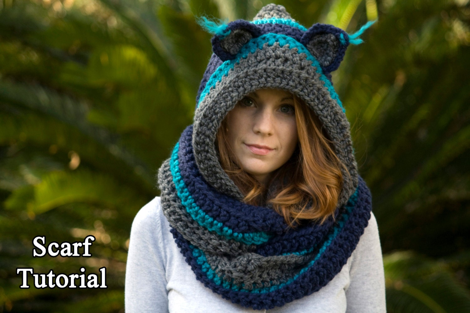 Free Knit Scoodie Pattern : CROCHET PATTERN Cat Scarf, Scoodie, Hooded Scarf with Cat Ears, Halloween Cos...