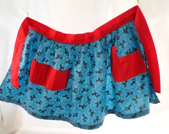 Vintage Little Girls Apron, Poodles, Blue, Navy, Red, Pockets, Cotton, Dogs, 1950's, Cooking, Playtime, Kitchen Helper, Girl