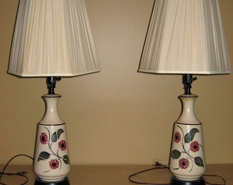 Pair of Vintage Art Deco Style Ceramic Table Lamps, Blossom Design That's Modern yet Art Deco