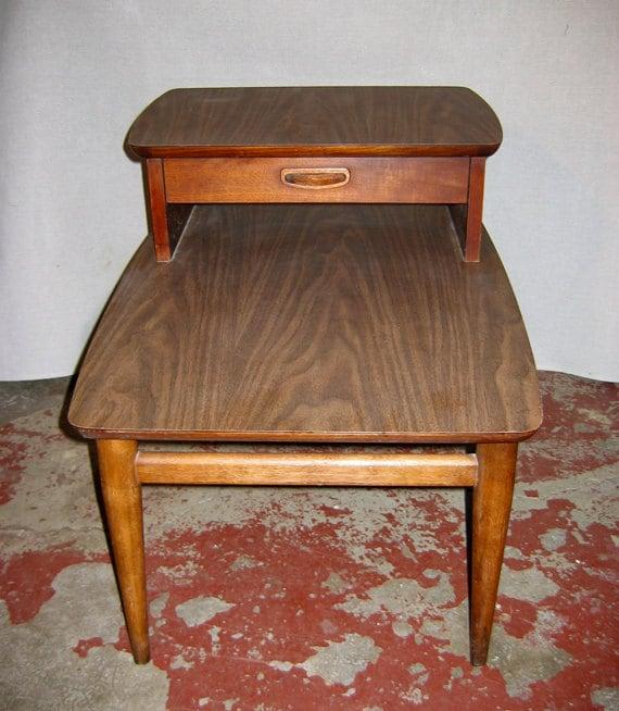 Mid Century Lane Side Step Table Walnut Veneer 1960s