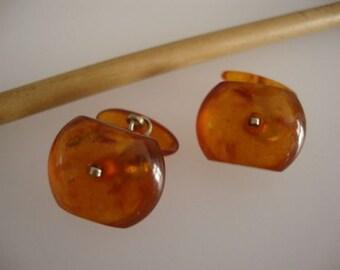 Amber Baltic Cufflinks Natural Vintage 4.49 Gr Cognac Honey Square Stone