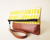 Yellow print Clutch bag, Wristlet, Canvas and Leather bag, Zippered Pouch