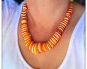 Orange and yellow, summer, button necklace