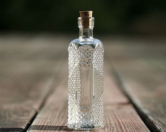 Clear Glass Bottle 5 Inches Tall Cork Limoncello Favors Olive Oil Favor Bottle Baptism Favors Holy Water Bottle