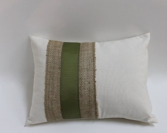 Burlap & olive ribbon accent lumbar pillow cover. Decorative ivory pillow cover. home decor accent throw pillow retro, modern