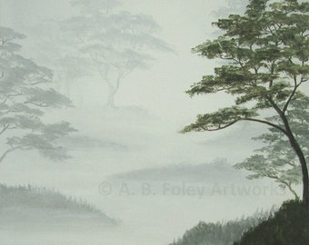 "Original Landscape Painting: Misty Painting of Trees in Fog, Grey Tree Art, Acrylic Art on Canvas, Foggy Gray Nature Decor 10"" X 10"""