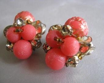 Vintage Coral Clipon Earrings - West Germany - Clip on Earrings