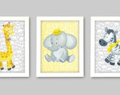 Grey and Yellow Art for nursery walls, Giraffe, Zebra and Elephant