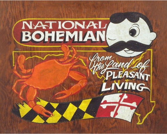 Cake Art Md : Natty Boh Crab & Maryland art Poster/ Print 16 by 20