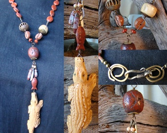 What's 4 Lunch?  Red jasper, bone, catlinite statement necklace with African 'lost wax' brass