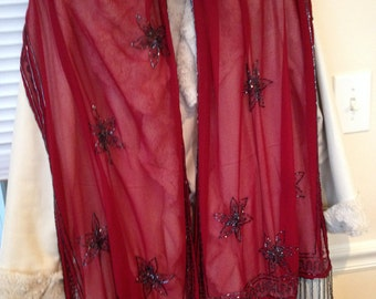 Beautiful Deep Wine colored Scarf, Beaded with Black Beads