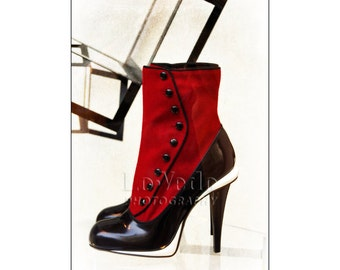 Kick Ass Boots, Fashion Photography, Italian Style, Red Suede Shoes, Stiletto Heels, Black Spats, Florence Italy