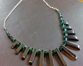 Hematite fan necklace with emerald Swarovski crystals