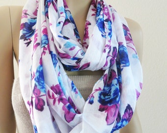 Floral Scarf, Rose Scarf, Blue Pink Purple Fashion Accessories, Print Infinity Scarf, Gifts under 20, White Print Scarf, Blue Rose, Loop
