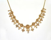 Antique Victorian 18k/14k Yellow Gold and Seed Pearl Necklace