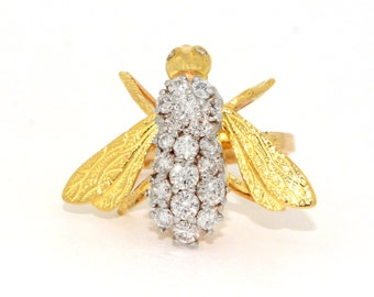 Vintage Ring - Vintage 1960's Diamond Bee Ring in 14k Yellow Gold and White Gold