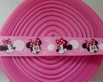 One  yard of Minnie Mouse 7/8 inch Ribbon