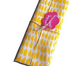 Hand printed tea towel - Yellow and Pink in 100% Linen