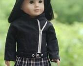 Black Linen Moto Jacket, Vest and White Textured Shirt for AG Doll Custom Order for Sarah