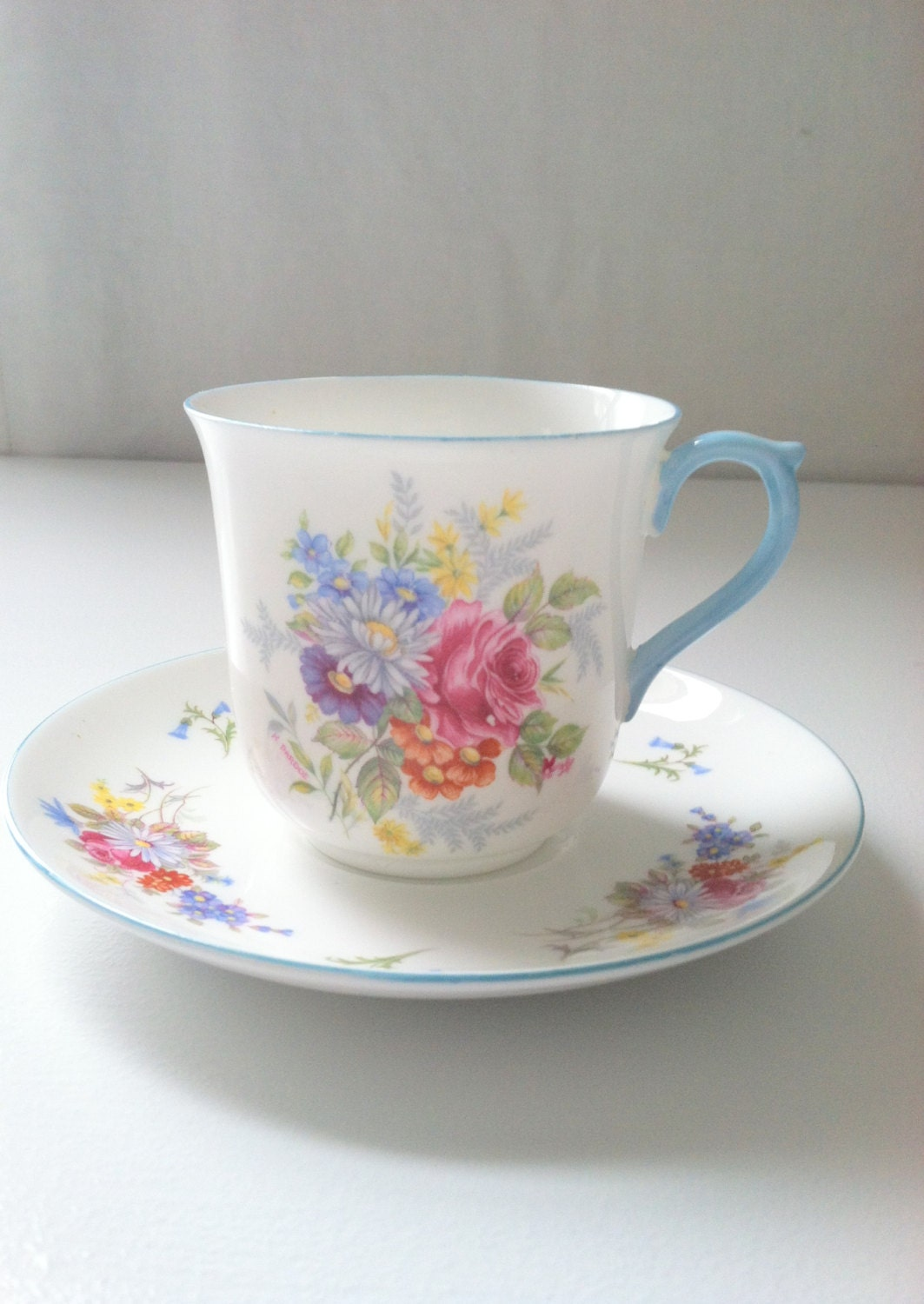 Vintage Shelley Fine Bone China Tea Cup and Saucer Thank You