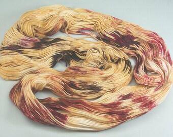 Hand Dyed Yarn Merino Golden Yellow Magenta Red Brown Wool Superwash 2326