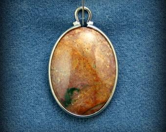 Fancy jasper pendant in silver plated setting
