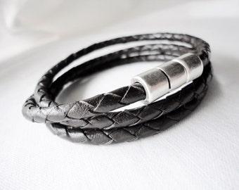 Men's Triple Wrapped bracelet, magnetic silver zamak clasp, gift for him