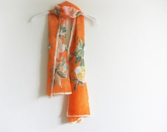 Orange silk scarf hand painted Women accessories - made TO ORDER